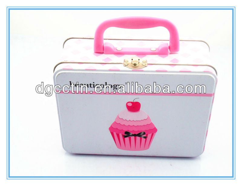 Nice handle tin case with latch,food handle tin/tin case for cake