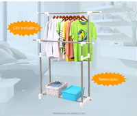 Double pole clothes stand valet stand clothes hanger,Folded clothes hanger pole,Household clothes horse