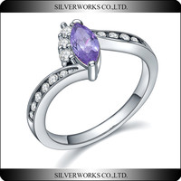 Factory Wholesale Fashion 925 Sterling Silver Jewelry Rings with Big Size Lavender CZ Stone