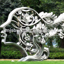 Large contemporary modern abstract outdoor stainless steel sculpture of metal