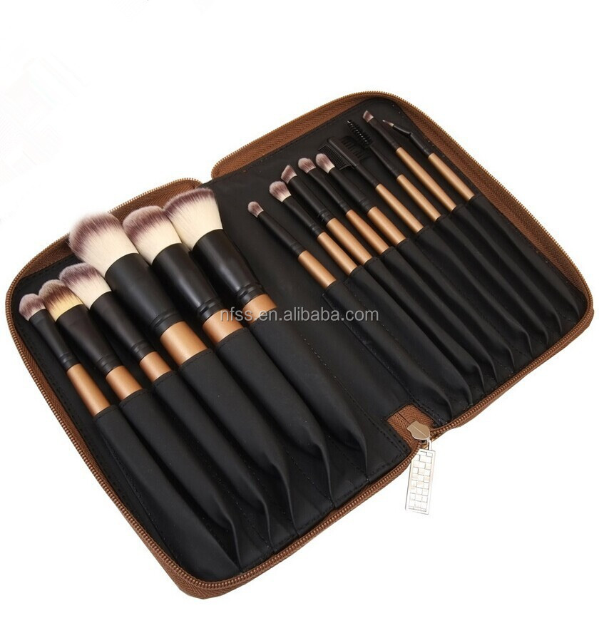 new arrival professional 15 piece makeup brushes set, synthetic hair make up brushes 15 piece