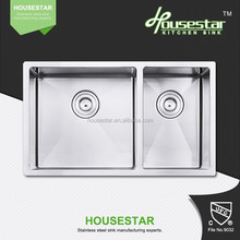 cupc handmade kitchen sink with factory price 3318R(60-40) wash basin above washing machine sound deadening pads sink