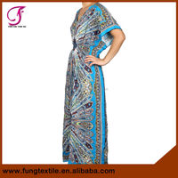 08206C01 Long Style Turkey Flower Cotton Women Batik Kaftan