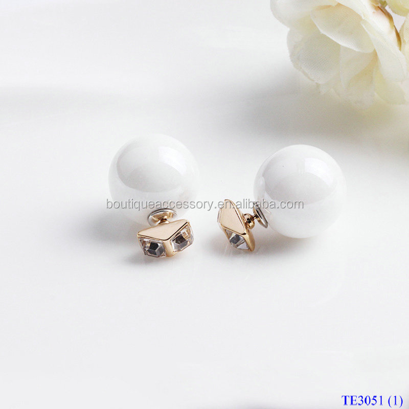 Hot Sale Charming Big Pearl Set Crystal Double Stud Earrings