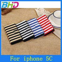 Horizontal Zebra Stripe Leather Stand Case for iPhone 5C
