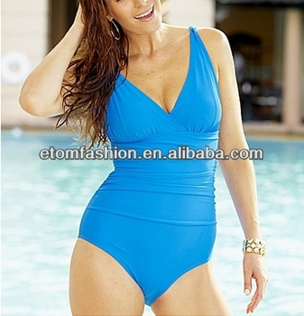 Cumstom made, sexy ladies Deep V-neck One-piece swimsuit, one piece swimwear, nylon/spandex swimsuit