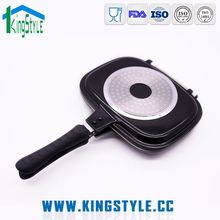 Hot sale die-casting aluminum black non stick double sided fry pan with lid