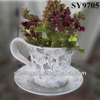Elegant ceramic coffee cup shape flower pot