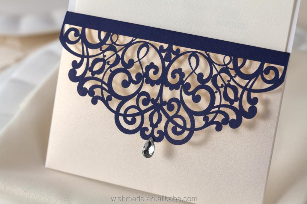 New Pocket Design Wedding Invitation With Laser Cut Cover Cw502 ...