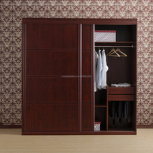 New Design Chocolate Cupboard Oak Wood Bedroom Wardrobe With Clothes Rail