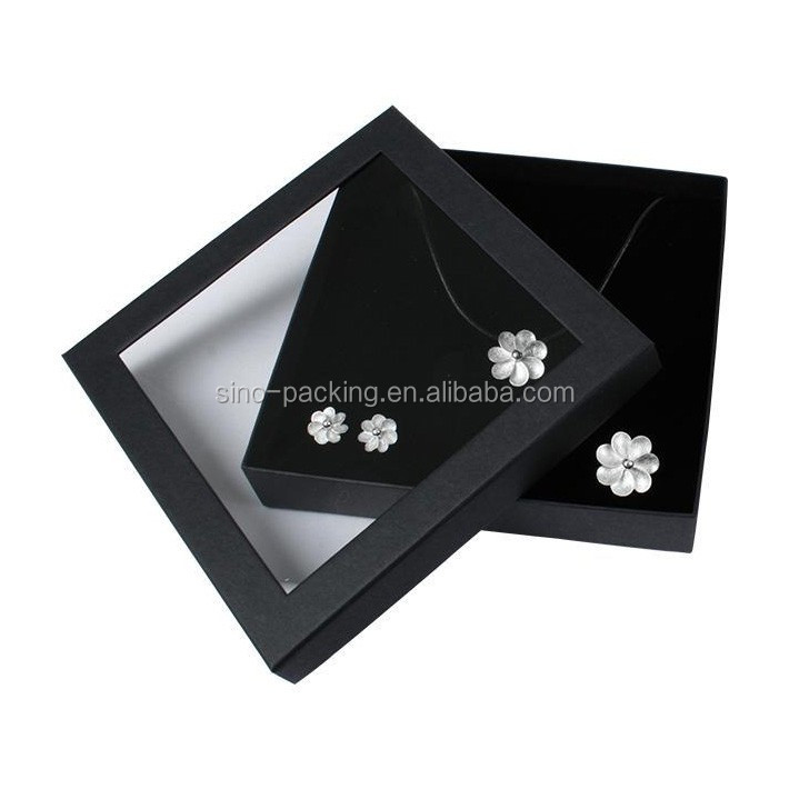 hot sale box with clear window jewelry pendant box package
