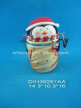 Ceramic penguin shaped canister