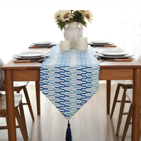 Fashion Modern Table Runner Colorful Nylon Runner Table Cloth With Tassels Cutwork Embroidered Table Runner