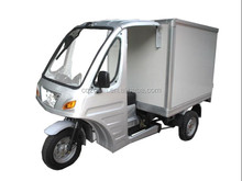 Refrigerator three wheel motorcycle with closed cargo box