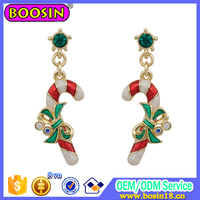 Gold Plated Christmas EARRING Alloy Red Enamel Christmas Drop Earring China Wholesale