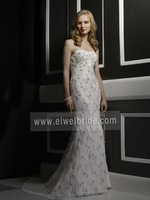 S626 Sleeveless Sheath Sweep Train Wedding Dresses by Crystal Trade co. ltd