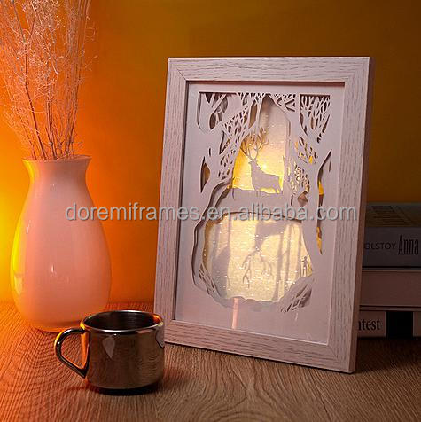 Aluminum/Wood photo frame shadow box with LED Light and paper-cut for home decoration