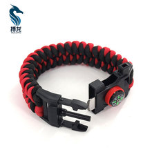 5-in-1 Survival Paracord Bracelet with Embedded Compass Whistle Fire Starter and Emergency Knife outdoor equipment