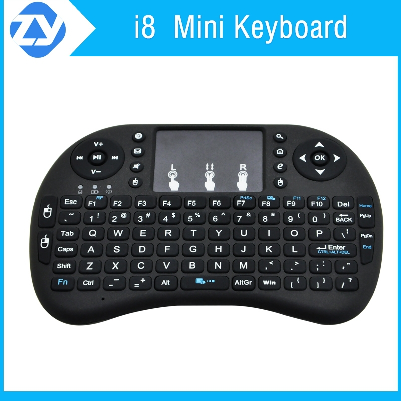 The most popular high quality mini keyboard i8 by original factory with Touchpad Mini Wireless air mouse for Media Center