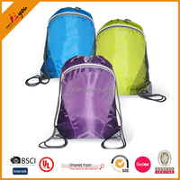 2016 Bright colors Nylon drawstring bag with front Zipper pocket