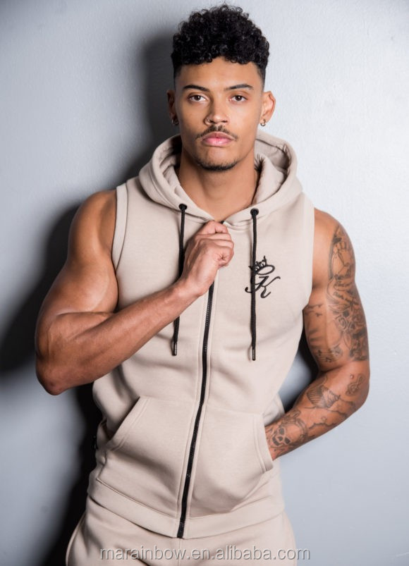 Fitted Gym Sleeveless Zipper Hoodie with Fleece Lining Tapered Men Joggers Tracksuit Bottoms OEM Wholesale Sweat shorts