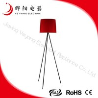 China Wholesale Red Fabric Lampshade Tripod Floor Lamp With Metal Base