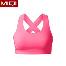 Ladies recent custom made ladies padded sports strap bra with wide elastic band wholesale sportswear
