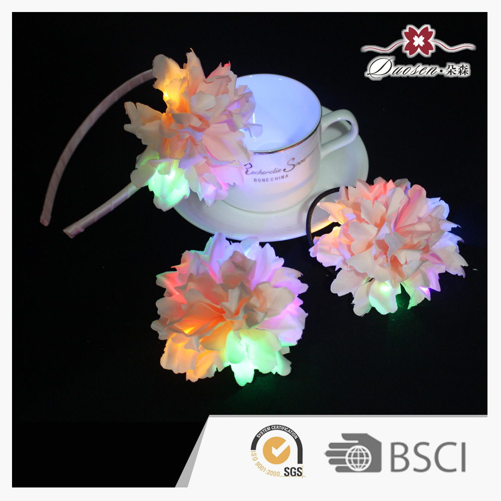 Latest carnation flowers LED light hair accessories set LED flower headband