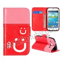 Smiling Face Design Wallet Stitching Style Magnetic Flip Stand TPU+PU Leather Case for Samsung Galaxy Duos I8262D