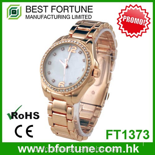 FT1373 Wholesale alloy wrist band rose gold analog diamond watch