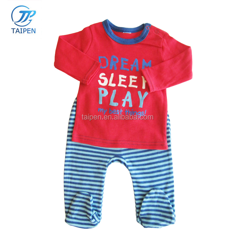 2pcs Sets Baby Sleepsuit 100% Cotton Long Sleeve Top And Stripe Footed Pants Kids Clothes Set