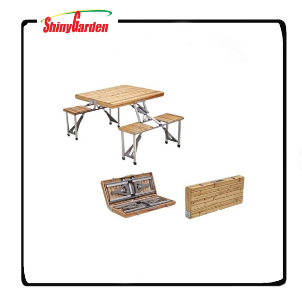 Folding Wooden Camping Table With Chairs