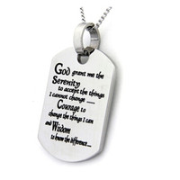 Yiwu Aceon Stainless Steel Dog Tag with Serenity Prayer God Tags Pendant