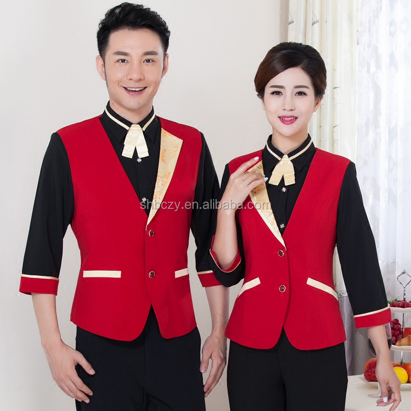 Customized Restaurant hotel reception uniform with apron