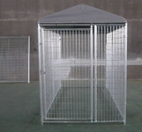 Factory supplying metal galvanized dog runs 1.8m x 2.4m x1.8m large dog cages gate latch dog kennels