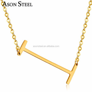 Wholesale Stainless Steel Fashion Initial Alphabet Letter I Pendant bridesmaid Necklace Jewelry gold mangalsutra designs image
