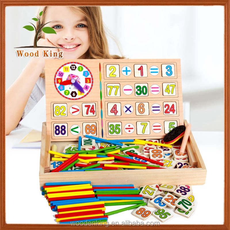 Beech Wooden Children Count Sticks Digital Operation Box Color Awareness Early Education Cheap Baby Brain Development Toys