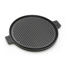 Round Cast Iron Griddle Pan for BBQ with Enamel Coating Reversible Double-Sided Grill <strong>Plate</strong> with Handles