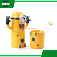 lovers kid cartoon minions sucker dustproof toothbrush holder automatic toothpaste dispener extruder suction gargle cup wash kit