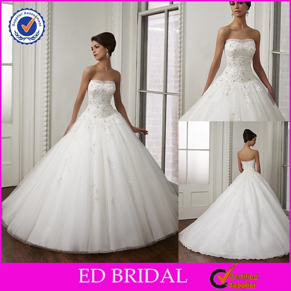 High-end Quality Bateau Neckline Lace Top Ball Gown Brazilian Wedding Dresses