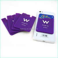 Promotional Silicone Card Holder Attach To The Back Of Smart Phone