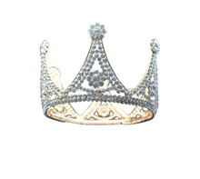 Cheap metal silver color full round big pageant grirl crowns