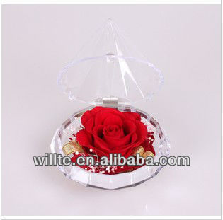 Elegant diamond shape acrylic rose display box