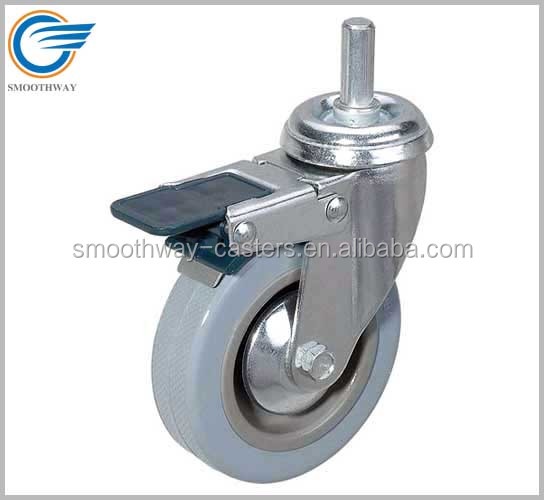 Threaded Stem Grey Rubber Caster With Double Brake Plastic Pedal Plain Bearing