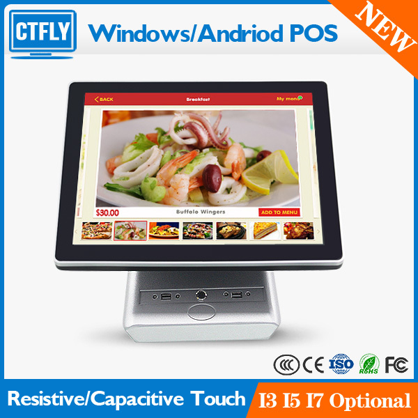 "15"" All in one Touch Screen POS System with VFD Customer Display"