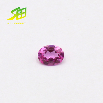 factory price oval shape 2# synthetic pink corundum stone price