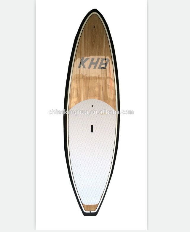 Sharp design carbon rail wooden venner foam core surfboard with white deck pad and special fin box design