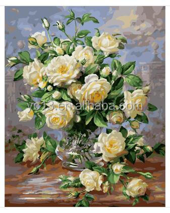 diy paint by numbers chinese painting white rose