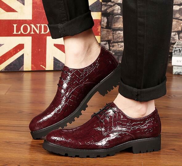 Fashion crocodile Luxury Brand Mens Leather Shoes Casual Oxford dress Shoes For Men