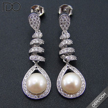 Competitive price Fresh water real earring pearl jewelry,latest design of pearl ladies earrings silver
